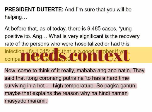 Duterte's take on virus survival in hot weather needs context