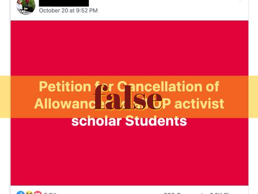 Netizen falsely states UP activists get allowances