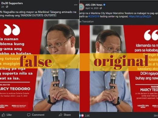 Marikina mayor's quote backing Duterte-Duterte tandem concocted