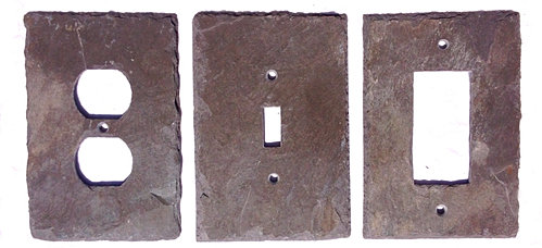 purple slate stone light switch and outlet covers