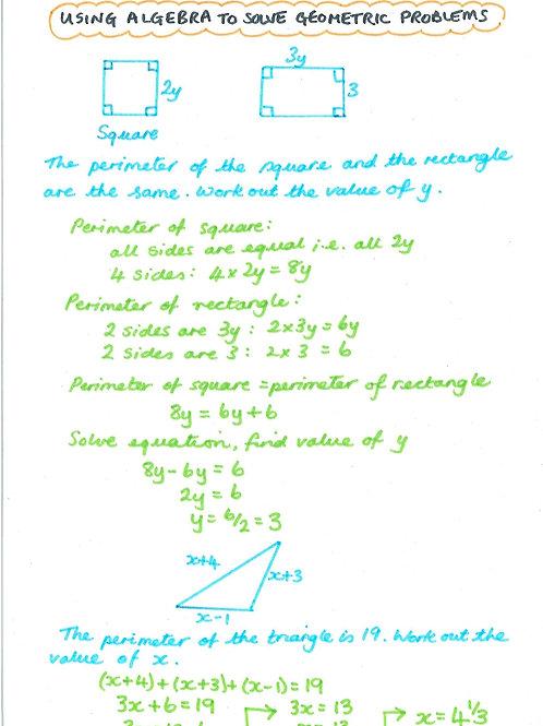 Algebra 27 - Solving Problems Using Algebra