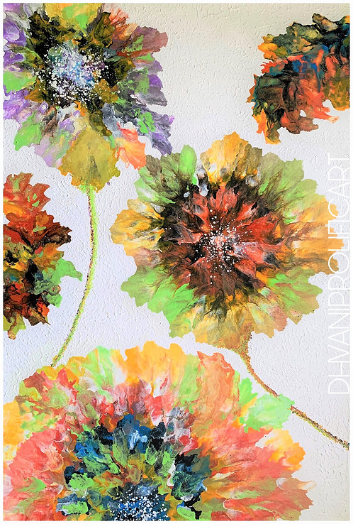 Textured colourful floral Painting