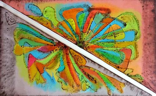 Multi-coloured heavily Textured triangles home decor artwork
