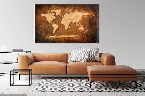 CANVAS PRINT~WORLD MAP