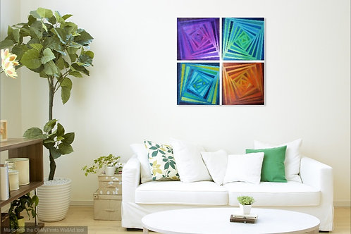 Multicoloured 4 piece Acrylic Painting