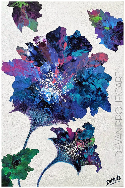 Textured Colourful Floral Abstract Painting