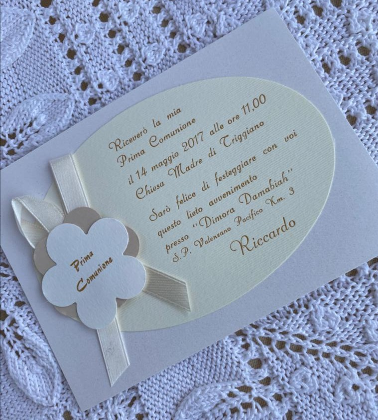 Invito comunione con fiore