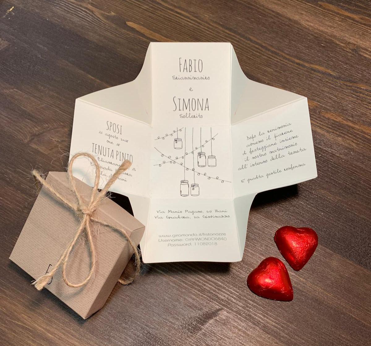 Partecipazioni di nozze scatolina