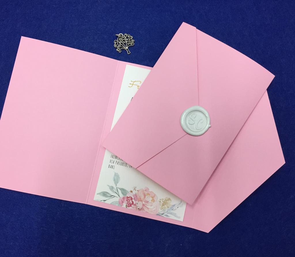 Invito comunione rosa con sigillo