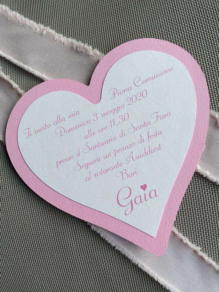 Invito comunione cuore rosa