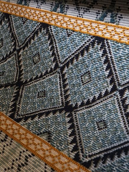 Banded Carpet on loom.JPG