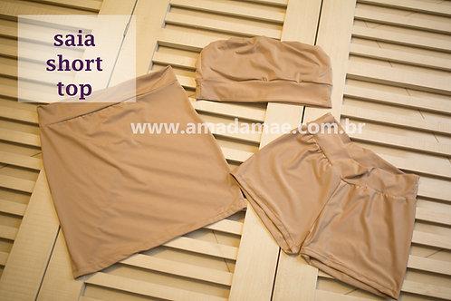 0114 - CONJUNTO TOP SHORT E SAIA