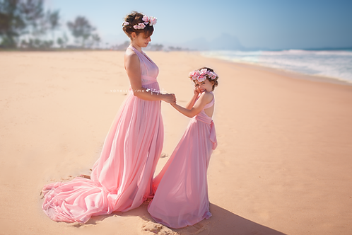 0001a - MOTHER AND DAUGHTER REMOVABLE TAIL DRESS