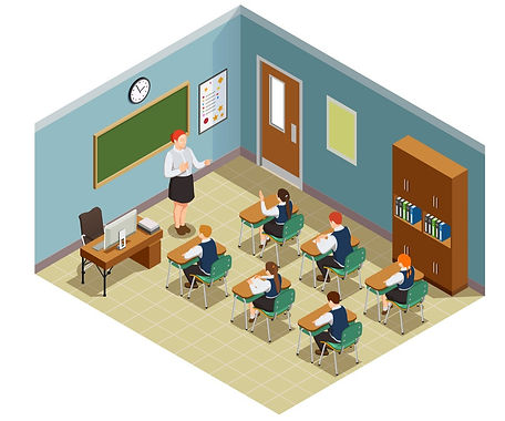 classroom-hour-isometric-composition-vec