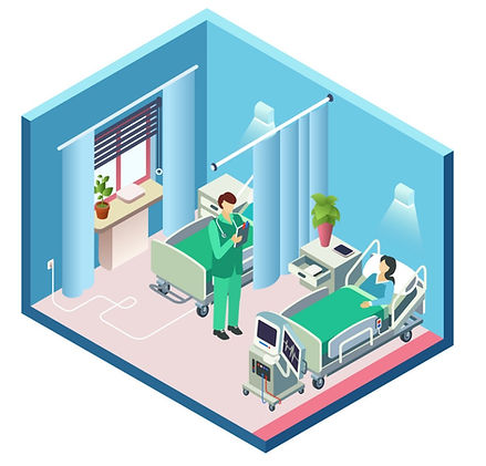 isometric-hospital-room-patient-doctor-v