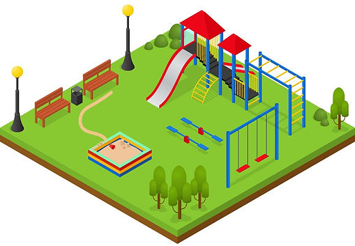 outdoor-playground-isometric-view-vector