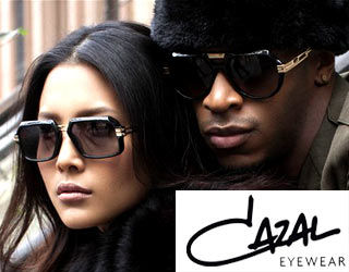 A man and woman wearing Cazal sunglasses and spectacles obtained from Croydon Vision Care Opticians.  Spectacles, Sunglasses and Contact lenses, sight tests are available.