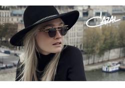 Blonde girl wearing Cazal sunglasses