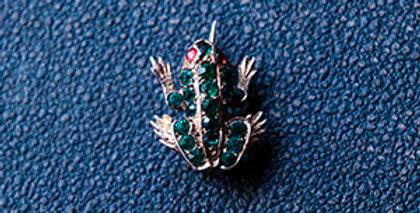 フランス ヴィンテージ ブローチ 蛙 ラインストーン 19世紀(TJ10714)