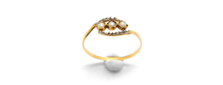 France Vintage Ring pearl - K18ゴールド・パールのヴィンテージゴールドリング(TJ10117)
