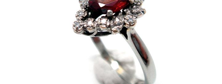 France Antique Ring - K18ホワイトゴールド・ガーネット・ダイヤモンドのアンティークゴールドリング(TJ9883)