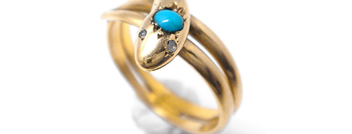 France Antique Ring Snake - K18ゴールド・ターコイズのアンティークゴールドリング(TJ10042)
