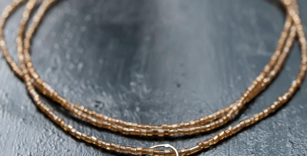 フランスヴィンテージゴールドビーズと水晶×リングのシンプルで落ち着いたロングネックレス(TJ10932)
