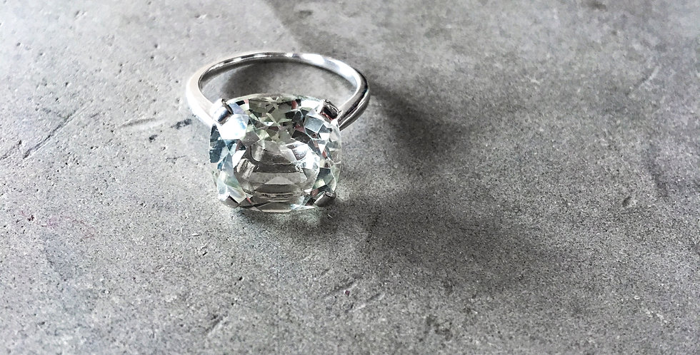 MARTINE SV925 Silver Green Amethyst Square RING(グリーンアメジストスクエアリング)(M044-silver)