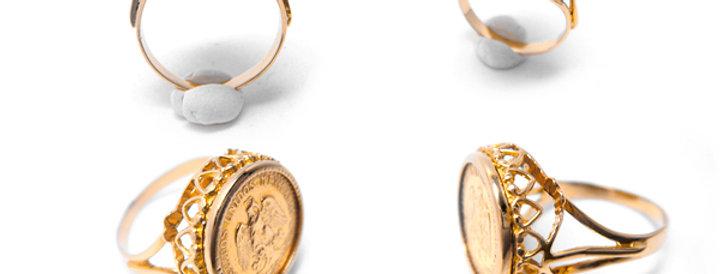 France Antique Ring coin - K18ゴールド・メキシコペソ金貨のアンティークゴールドリング(TJ9882)