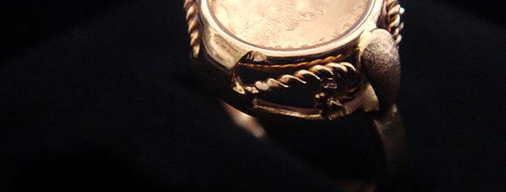 France Antique Ring coin - K18ゴールド・メキシコペソ金貨のアンティークゴールドリング(TJ9724)