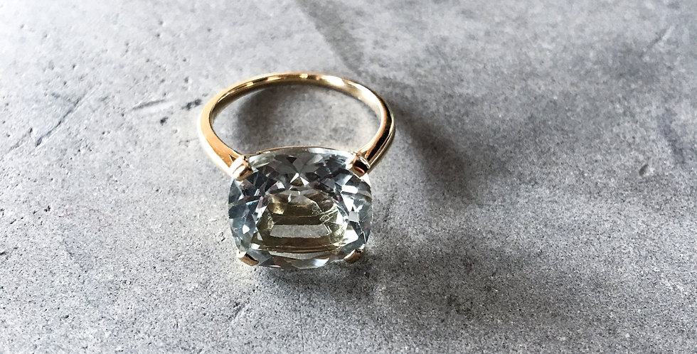 MARTINE K18 Gold Green Amethyst Square RING(グリーンアメジストスクエアリング)(M044-gold)