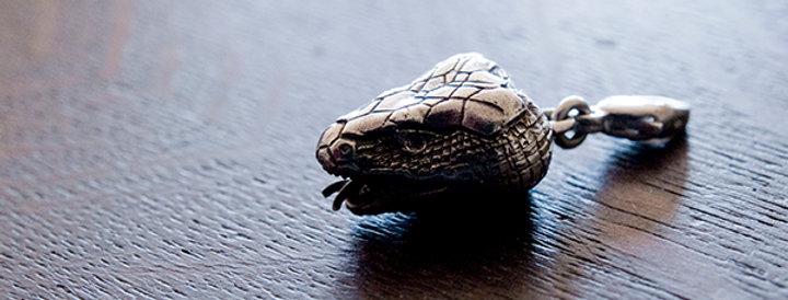 フランス ヴィンテージ シルバーチャーム 蛇(TJ10866)