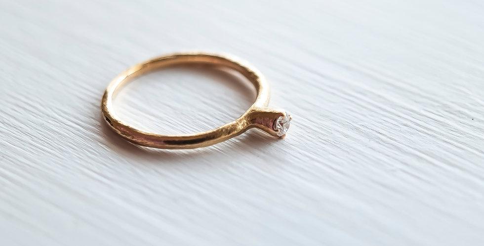 MARTINE K18 ゴールドリング 月の指輪+ダイヤモンド(M035)