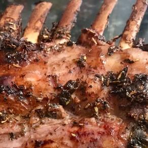 mustard and rosemary marinated smoked rack of lamb