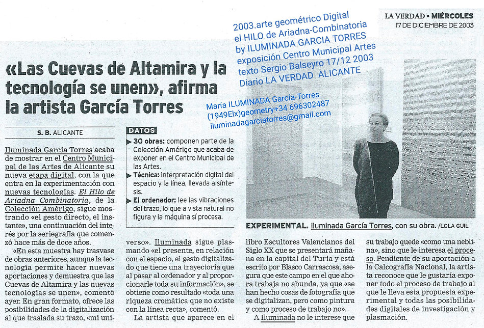 2003.texto SergioBalseyro Diario LaVerdad. expo digital geometria El Hilo d Ariadna Combin
