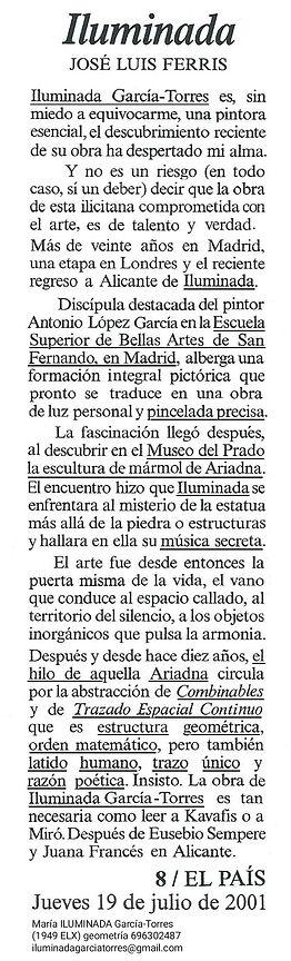 2001·texto José Luis Ferris ·EL PAIS 19