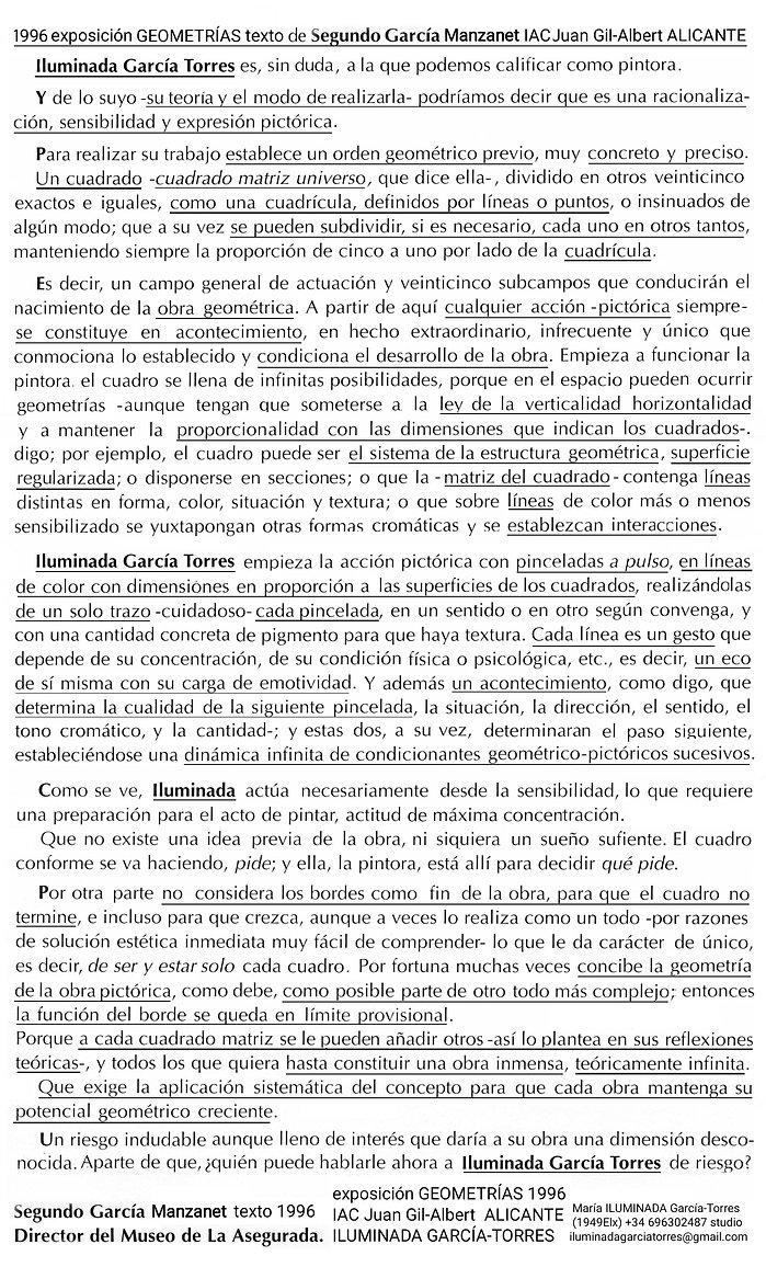 1996 Segundo García exposición GEOMETRIAS ILUMINADA GARCIA TORRES Instituto Alicantino Cul