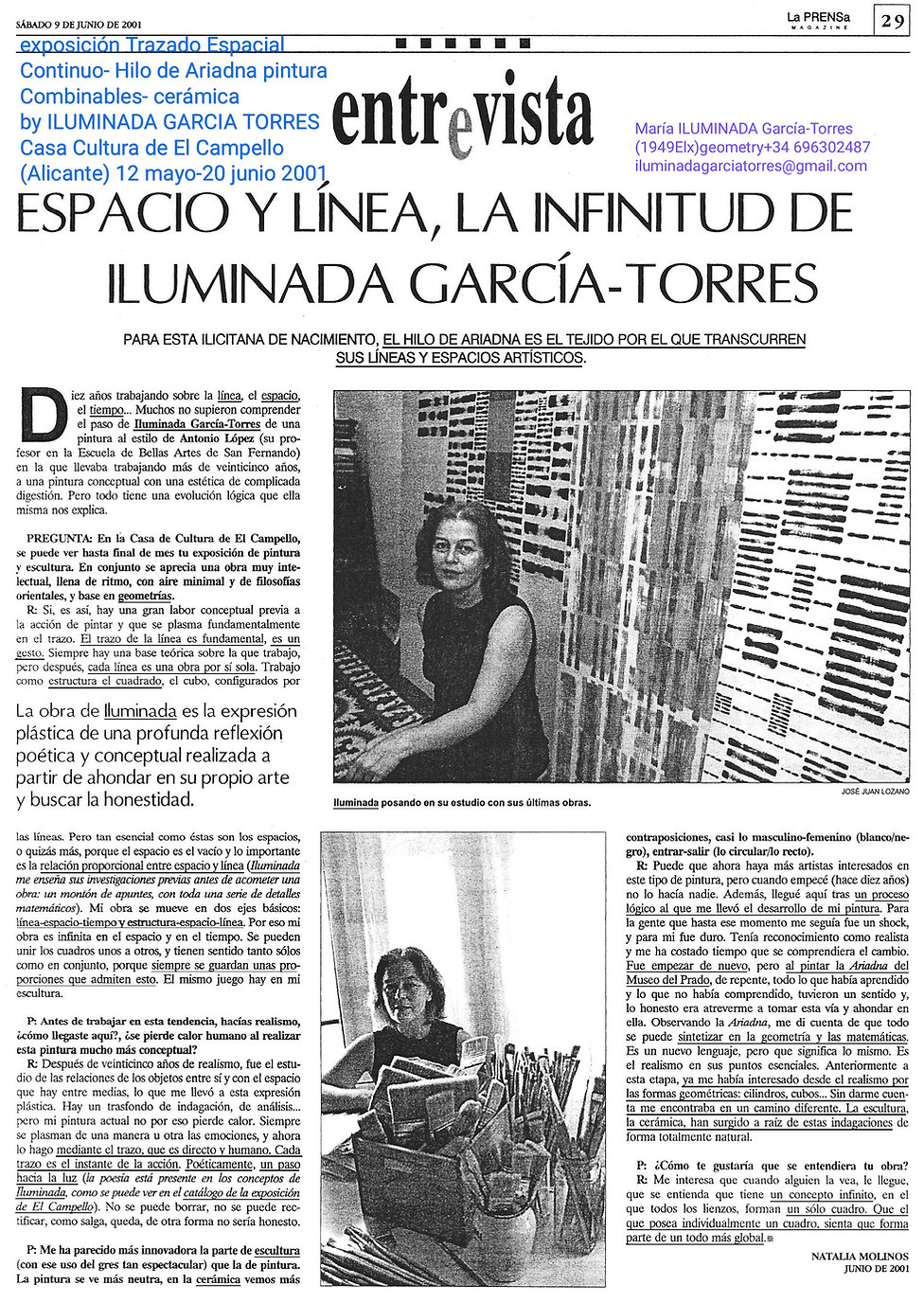 2001texto Natalia Molinos Navarro exposición de pintura y escultura cerámica by ILUMINADA