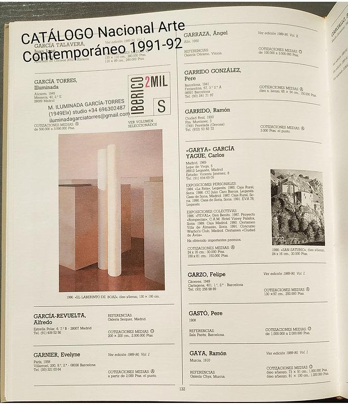1991-92 catálogo Nacional Arte Contemporáneo IBÉRICO 2MIL. ILUMINADA GARCIA TORRES(1949).j