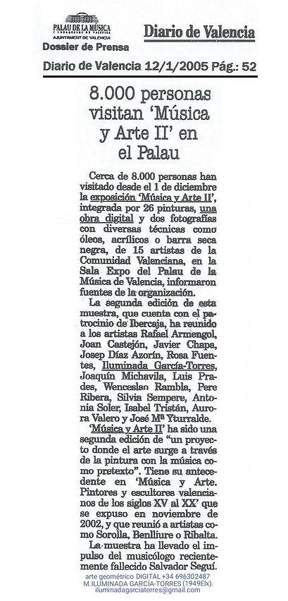 2005Diario de Valencia 01.01.2005 PalauMúsica Valencia expoMUSICA ARTE II catalog46.jpg