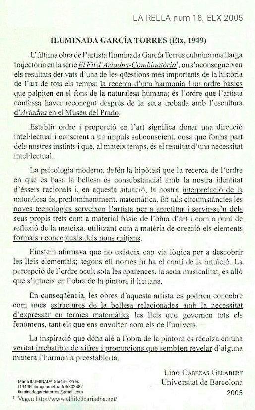 2005 text Lino Cabezas Gelabert La Rella18 geometrías Digitals de ILUMINADA GARCIA-TORRES.