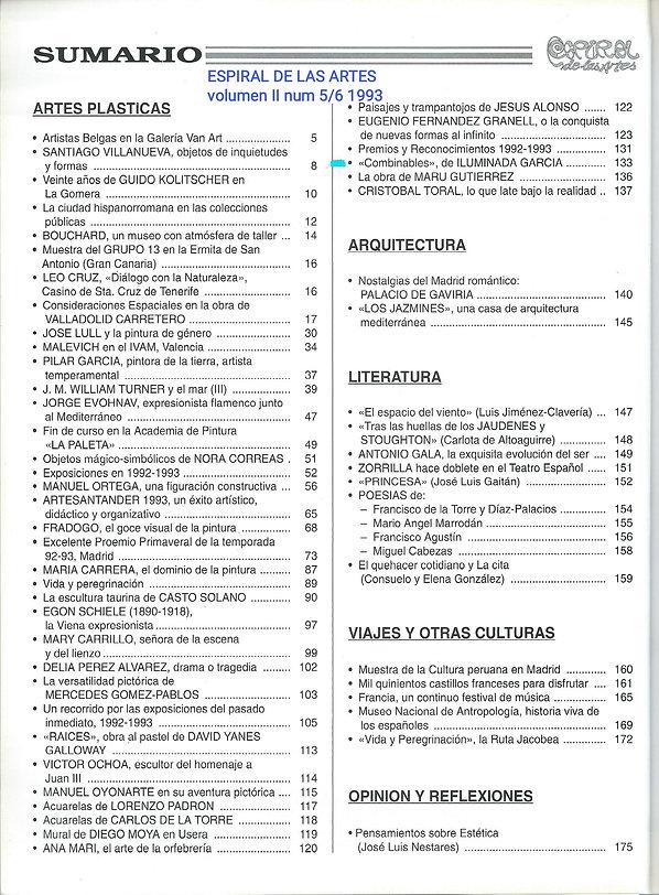 1993·ESPIRAL de las ARTES n5-6 texto J. Antonio Lisbona COMBINABLES, exposición(1993) de I