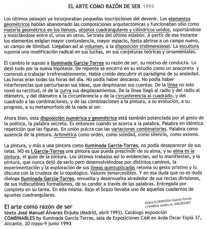 1993 EL ARTE COMO RAZÓN DE SER texto JMa