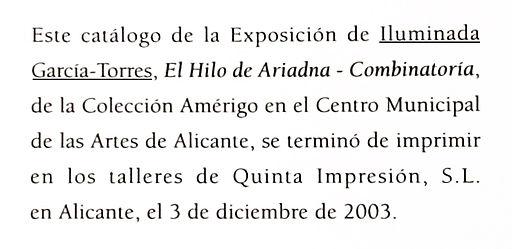 2003 catálogo exposición de Iluminada Ga