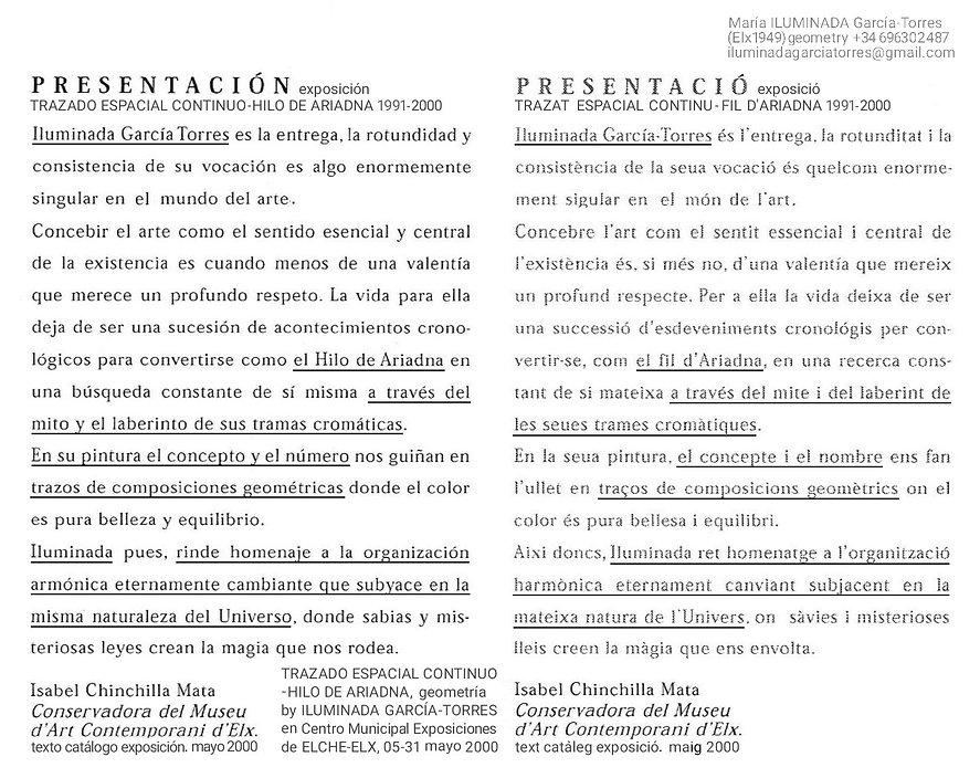 2000 text Isabel Chinchilla Mata. exposi