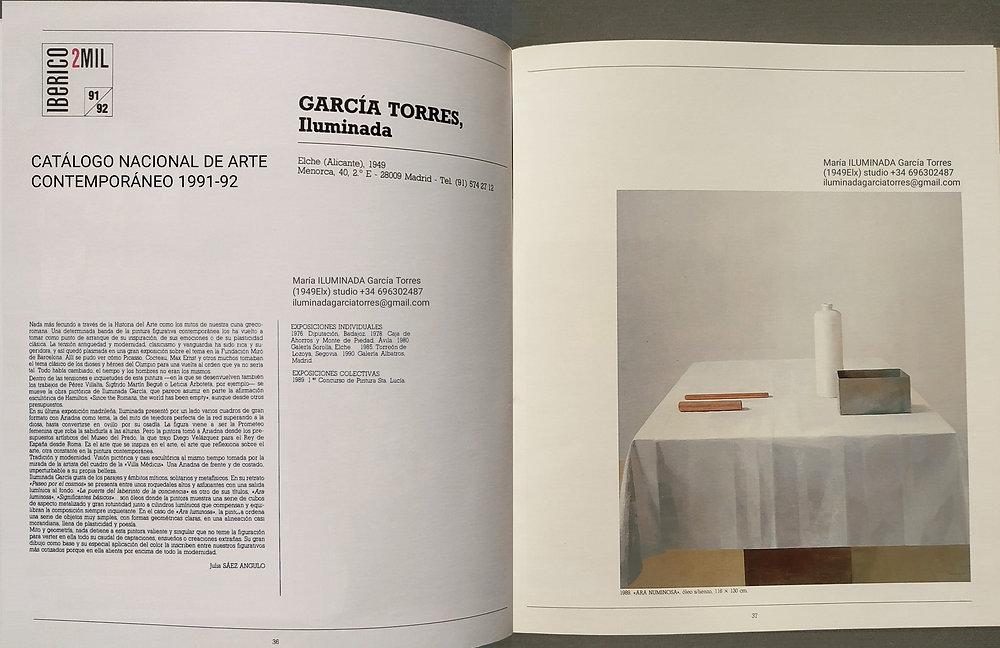 1991-92catálogo Nacional Arte Contemporáneo IBÉRICO 2MIL. pintura by ILUMINADA GARCIA TORR