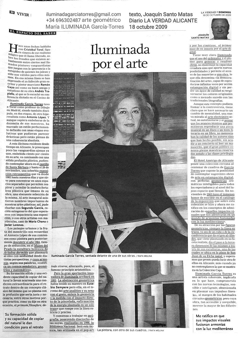 2009 texto Joaquín Santo Matas Diario LA VERDAD Alicante exposición Retrospectiva de ILUMI