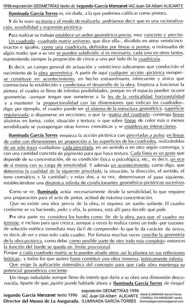 1996 exposición GEOMETRIAS ILUMINADA GAR
