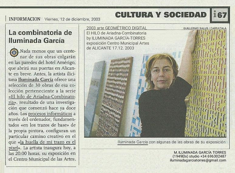2003L El HILO de Ariadna-Combinatoria by ILUMINADA GARCÍA-TORRES expo Centro Municipal Art