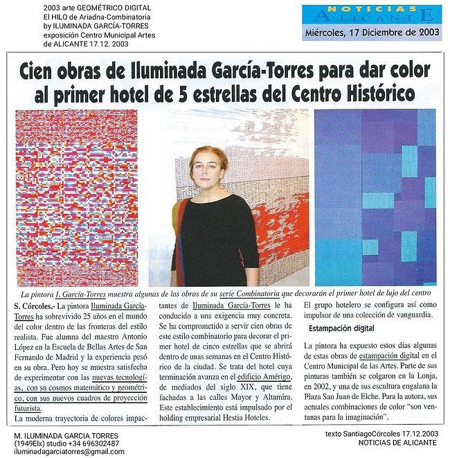 2003 arte GEOMÉTRICO DIGITAL El HILO de Ariadna-Combinatoria by ILUMINADA GARCÍA-TORRES ex